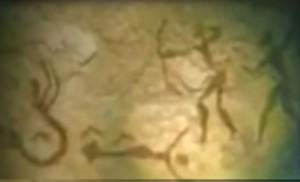 Pintura rupestre. Observa la coexistencia de humanos y los hombres pez.