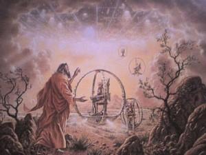 Representación pictórica de la visión de Ezequiel.