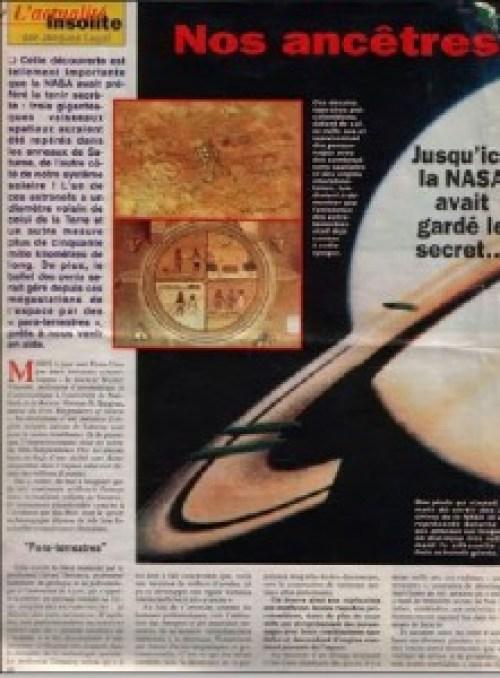 Noticia recogida sobre los OVNIS en Saturno y Júpiter.