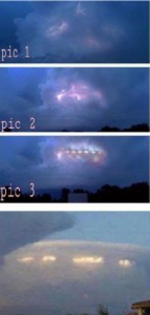 En tres fases del proceso de aparición del Ovni que surgió entre la nubes.