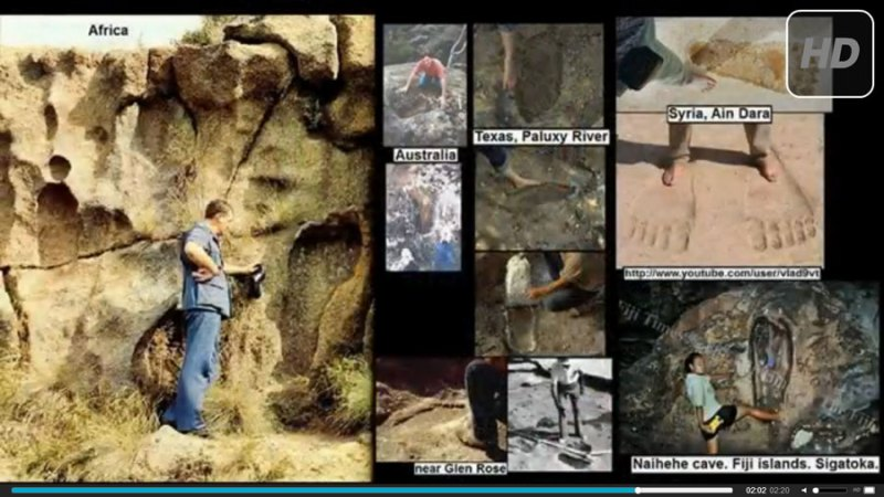 Huellas de pies gigantes en todo el mundo.