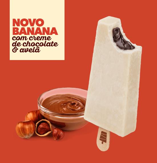 Banana c/ Creme de Chocolate & Avelã | Los Paleteros