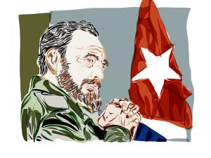 Un'illustrazione di Casto con la bandiera di Cuba