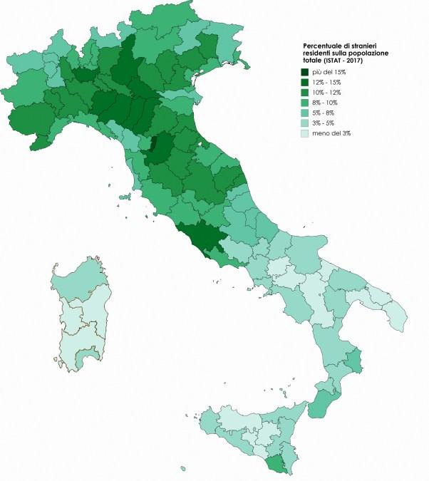 Presenza di cittadini stranieri in Italia (per provincia)