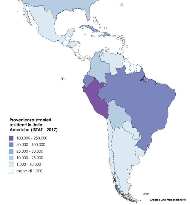 Provenienza cittadini stranieri dall'America (mappa)