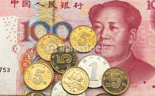 Chinese renminbi 100 bank note and coins