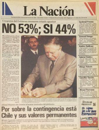 6 ottobre 1988 - le testate di alcuni quotidiani cileni