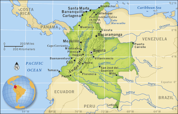 map colombia