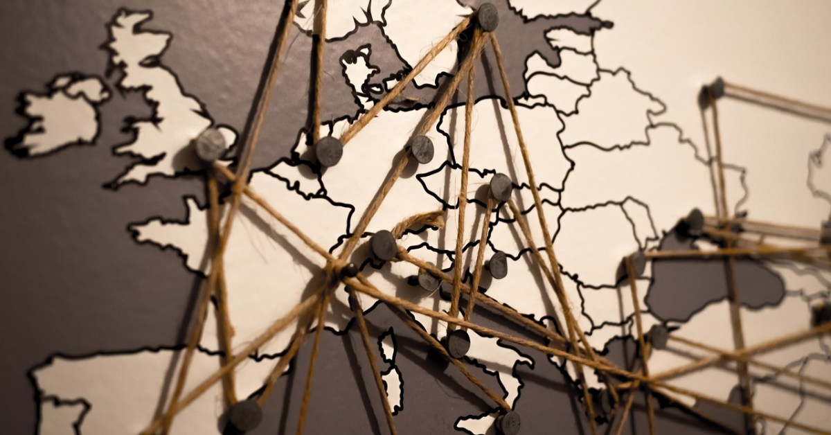 Network World Continent Connections Map Europe