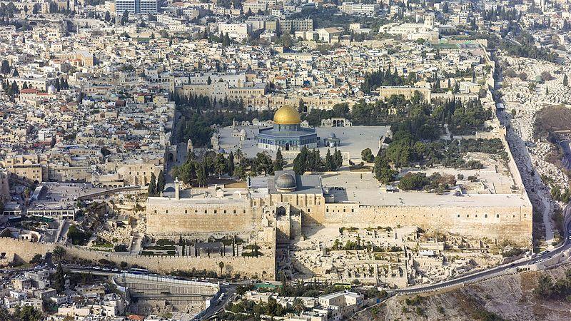 Una veduta dall'alto del tempio del Monte di Gerusalemme, patrimonio dell'UNESCO