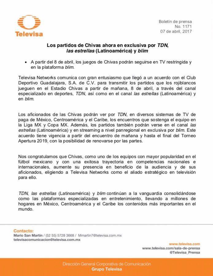 Comunicado de prensa Chivas - Televisa - TDN