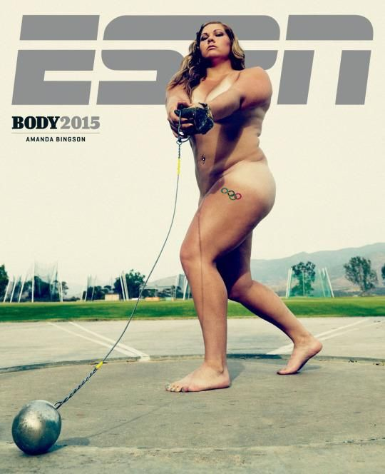 Amanda Bingson, Body Issue, ESPN, Martillo, desnuda, posando, críticas, sobrepeso, atleta