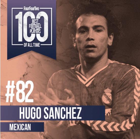 Hugo Sánchez, 100 mejores futbolistas, FourFourTwo, futbol mundial, Real Madrid, Selección Mexicana, Atlético de Madrid