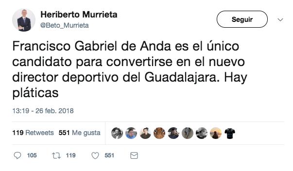 Francisco Gabriel de Anda formaría parte del desfile de directivos en Chivas