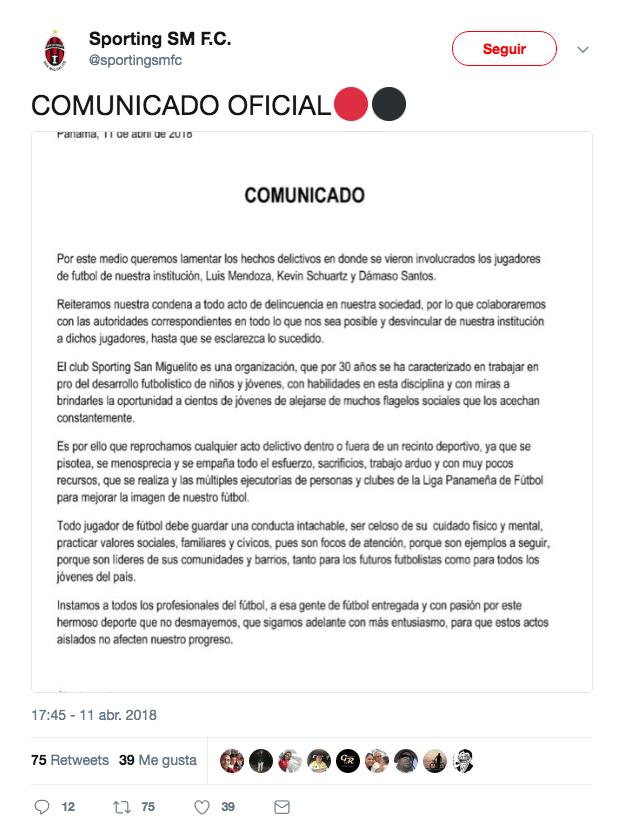 Jugadores Detenidos Secuestro Panamá San Miguelito Damaso Primera twitter
