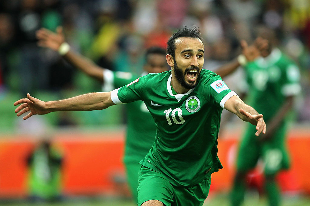 MELBOURNE, AUSTRALIA - JANUARY 14: Al Sahlawi Mohammed of Saudi Arabia celebrates after scoring a goal during the 2015 Asian Cup match between DPR Korea and Saudi Arabia at AAMI Park on January 14, 2015 in Melbourne, Australia. (