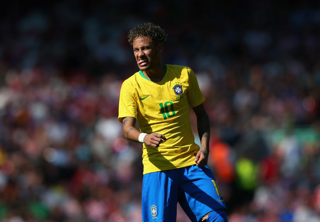 LIVERPOOL, ENGLAND - JUNE 03: Neymar Junior of Brazil reacts during the International friendly match between of Croatia and Brazil at Anfield on June 3, 2018 in Liverpool, England.