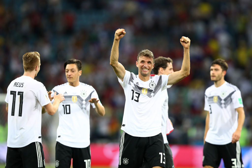 SOCHI, RUSSIA - JUNE 23: Thomas Mueller of Germany celebrates victory following the 2018 FIFA World Cup Russia group F match between Germany and Sweden at Fisht Stadium on June 23, 2018 in Sochi, Russia.