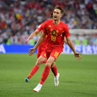 KALININGRAD, RUSSIA - JUNE 28: Adnan Januzaj of Belgium celebrates scoring his team's opening goal during the 2018 FIFA World Cup Russia group G match between England and Belgium at Kaliningrad Stadium on June 28, 2018 in Kaliningrad, Russia.
