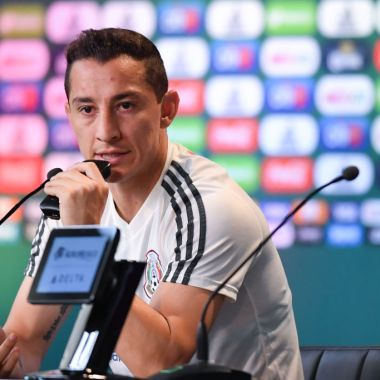 MOSCOW, RUSSIA - JUNE 29: Andres Guardado of Mexico, speaks during a press conference at Training Base Novogorsk-Dynamo, on June 29, 2018 in Moscow, Russia