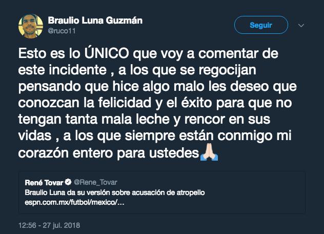 Braulio Luna, niega, atropellar, mujer