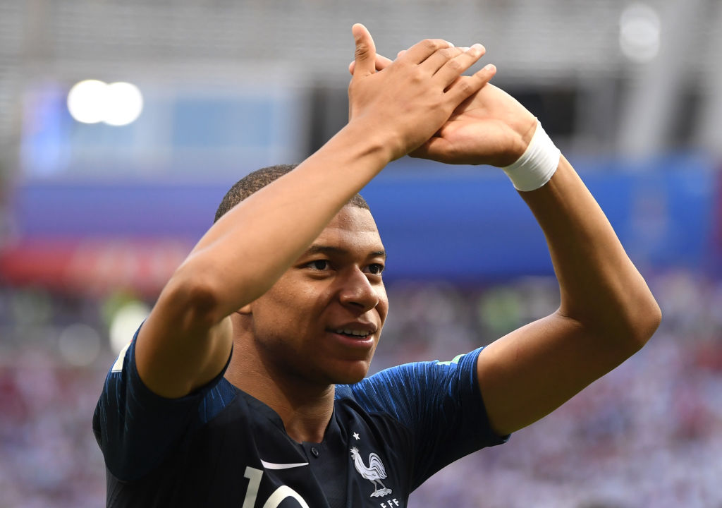 KAZAN, RUSSIA - JUNE 30: Kylian Mbappe of France celebrates victory following the 2018 FIFA World Cup Russia Round of 16 match between France and Argentina at Kazan Arena on June 30, 2018 in Kazan, Russia.
