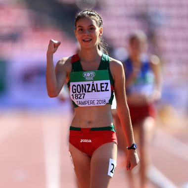 TAMPERE, FINLAND - JULY 14: Alegna Gonzalez of Mexico celebrates winning gold in the final of the women's 10,000m walk on day five of The IAAF World U20 Championships on July 14, 2018 in Tampere, Finland.