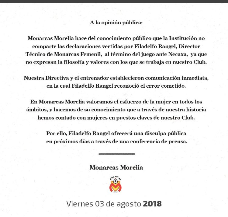 Filadelfo Rangel, Declaraciones Mujeres, Monarcas Morelia Femenil, Liga MX Femenil