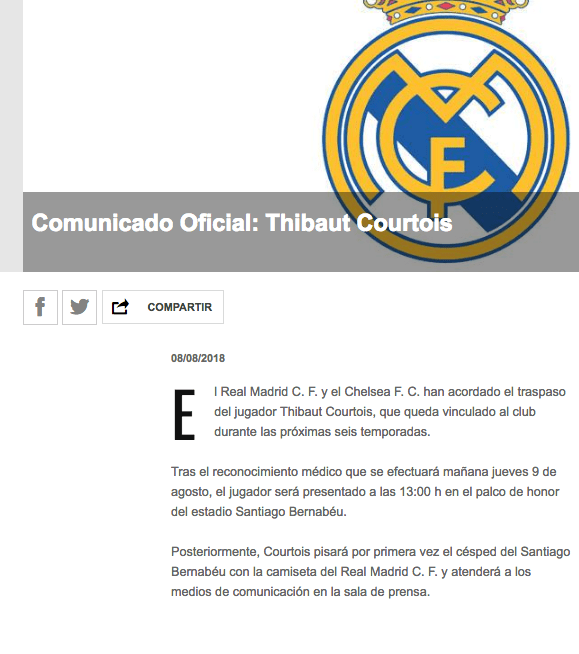 Thiabaut Courtois, Real Madrid, Chelsea, Fichaje