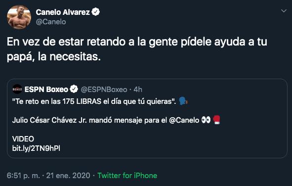 21/01/2020. Canelo Álvarez Chávez Jr Los Pleyers, Tuit de Saúl Álvarez para JC Chávez Jr.