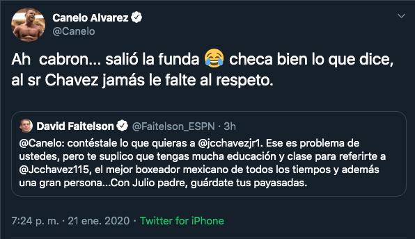 21/01/2020. Canelo Álvarez Faitelson Chavez Los Pleyers. Canelo y su burla hacia Faitelson.