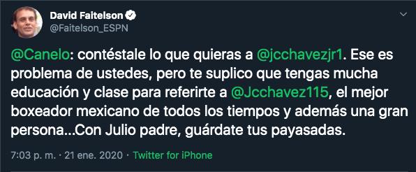 21/01/2020. David Faitelson Canelo Álvarez Los Pleyers, Respuesta de Faitelson a Saúl.