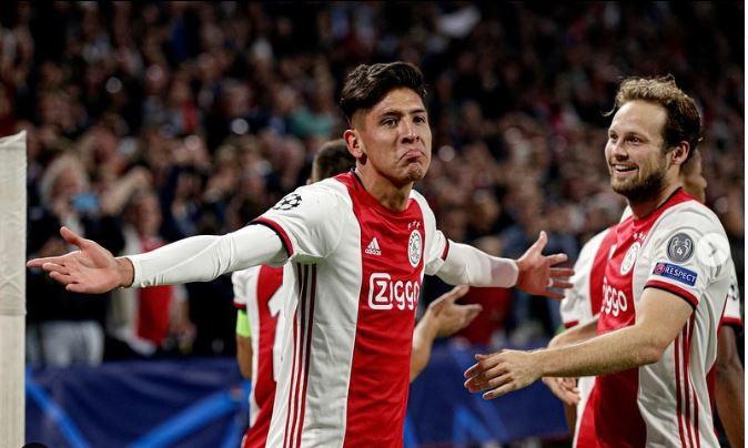 29/01/2020. Edson Álvarez Gol Ajax Entrenamiento Los Pleyers, Edson Álvarez festeja un gol.