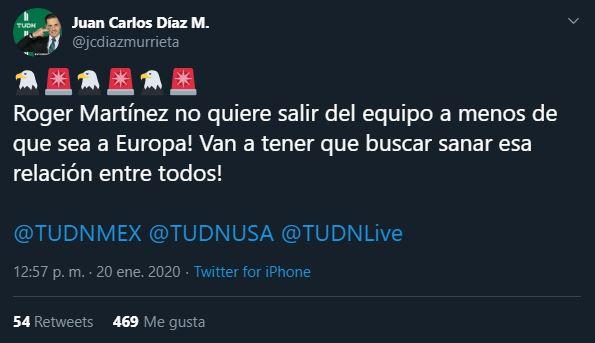26/12/2019, Roger Martínez no quiere dejar América a menos de que sea fichaje a Europa