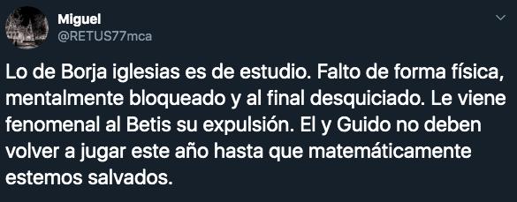 17/02/2020. Borja Iglesias Guido Rodríguez Los Pleyers, Tweet hacia Guido Rodríguez.