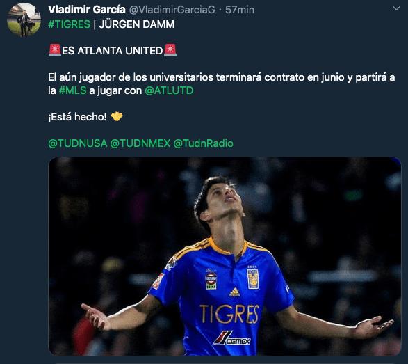 25/02/2020. Jurgen Damm Los Pleyers, Tweet de Damm.