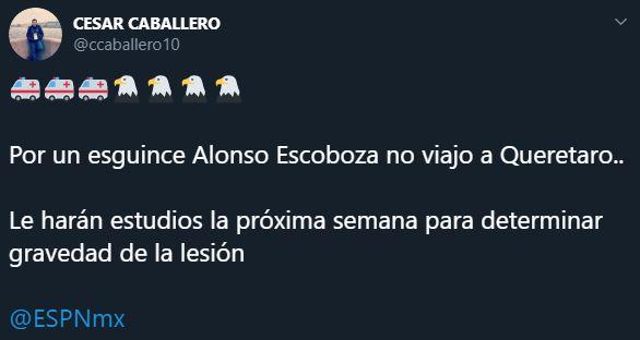 08/02/2020. Lesión Alonso Escoboza Los Pleyers, Tweet de la lesión de Escoboza.