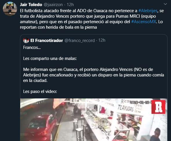 24/03/2020. Alejandro Vences Portero Los Pleyers, Tweet de Jair Toledo.