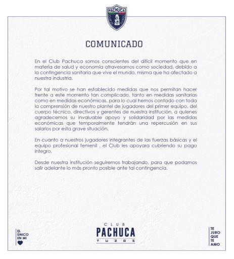 31/03/2020, Pachuca y León no bajan salarios de Liga MX Femenil por coronavirus