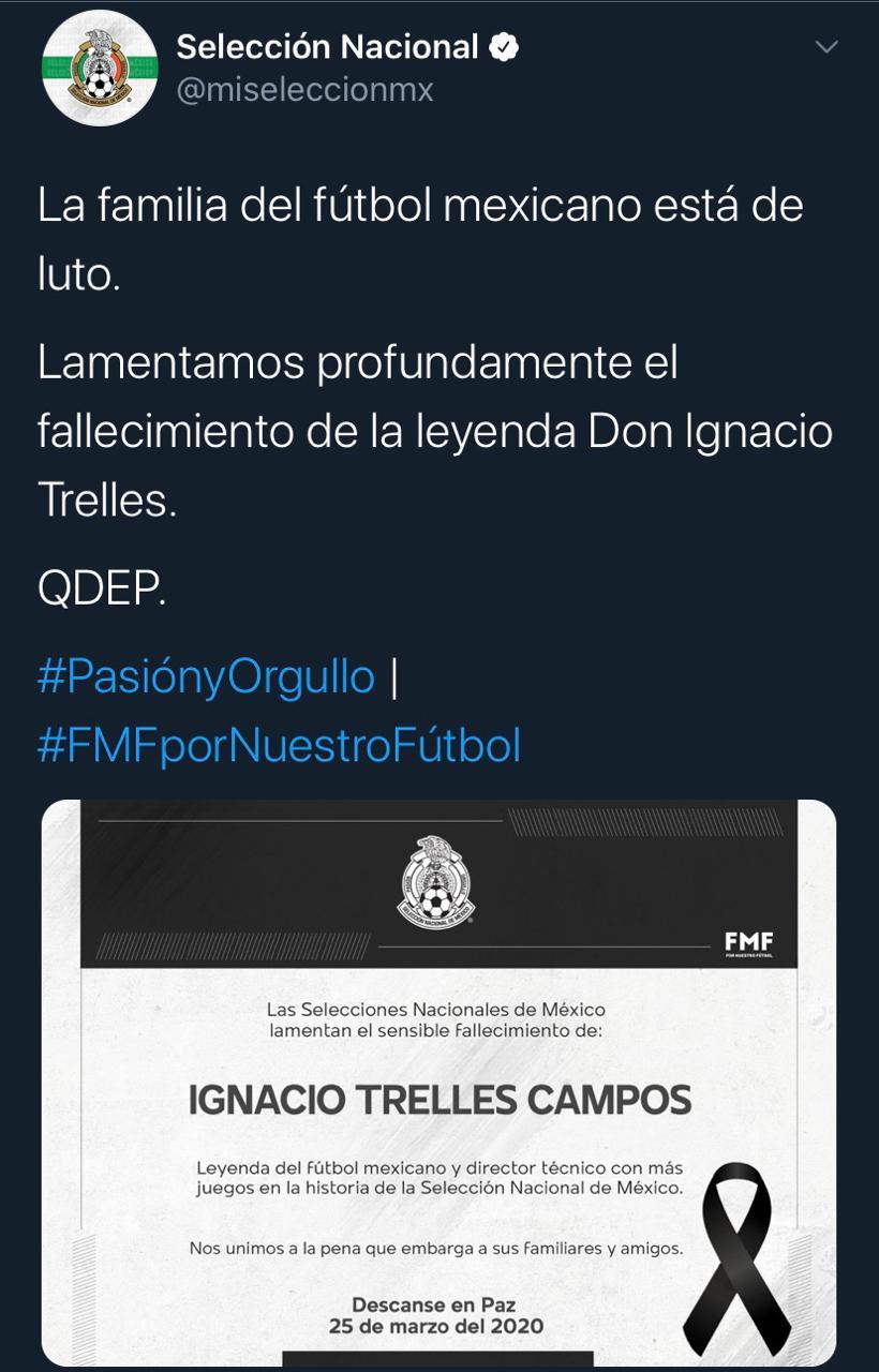 25/03/2020. Selección Mexicana Nacho Trelles Los Pleyers, Tweet del Tri.