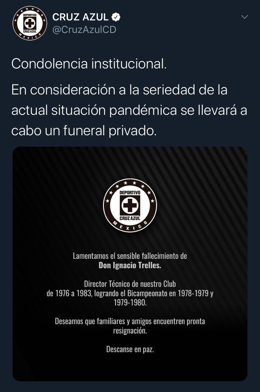 25/03/2020. Tweet Cruz Azul Nacho Trelles Los Pleyers, Mensaje de La Máquina.