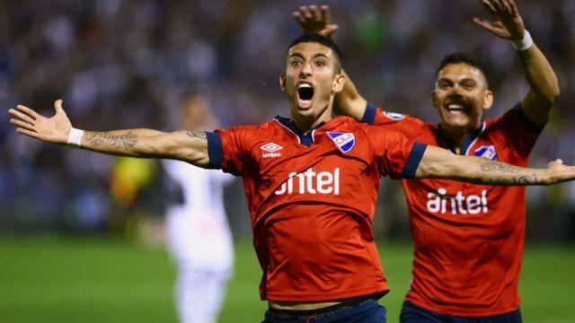 18/04/2020. América Santiago Rodríguez Uruguay Los Pleyers, Santiago Rodríguez festeja un gol con Nacional.
