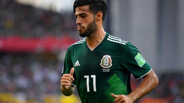 27/06/2019. Carlos Vela Alejandro Vela Regreso México Los Pleyers, Carlos Vela en un partido con México.