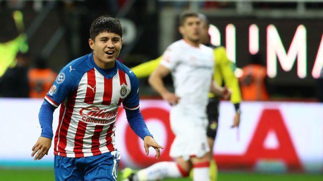 25/01/2020. Chofis López Chivas Detractores Críticas Los Pleyers, Javier López celebra un gol.