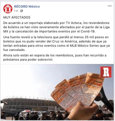 09/04/2020 Reventa, Boletos, Liga MX, Delito, México, Covid 19, Publicación de Récord
