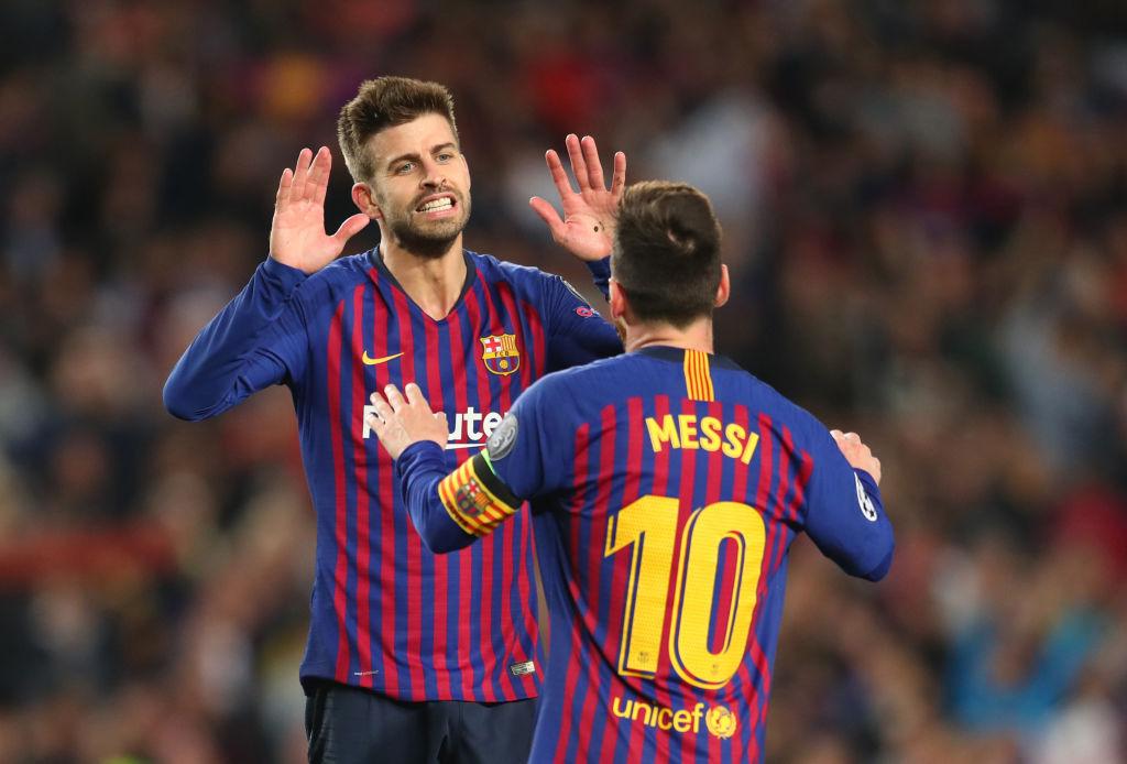 01/05/2019. Rodolfo Pizarro Piqué Inter Miami Fichaje Los Pleyers, Piqué festeja un gol con Messi.