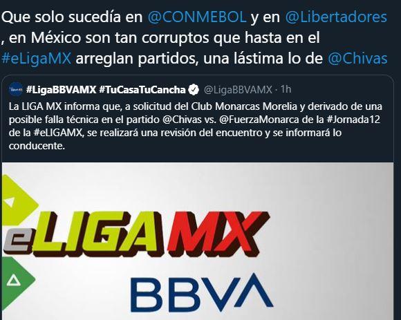 19/05/2020. Amaño Chivas eLiga MX Los Pleyers, tweet respecto a la eLiga MX.