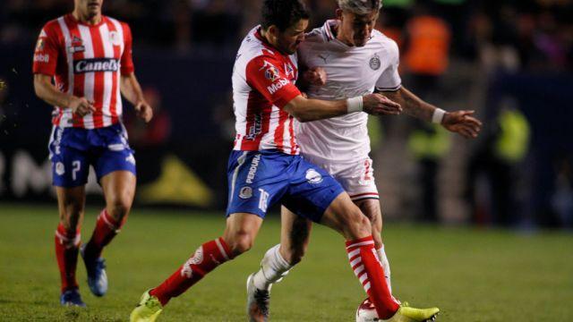 31/01/2020. César Montes Chicote Calderón Chivas Intercambio Los Pleyers, Chicote Calderón en un partido contra Atlético de San Luis.