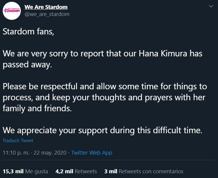 23/05/2020, Reportan muerte de Hana Kimura de la lucha libre japonesa por suicidio