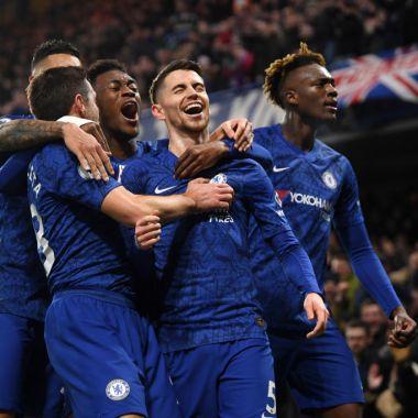 21/01/2020. Hudson Odoi Chelsea Arresto Violación Los Pleyers, Jugadores del Chelsea celebran un gol.